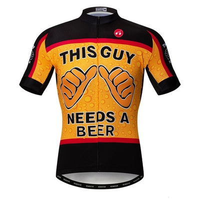 """This Guy Needs A Beer"" Short Sleeve Cycling Jersey"