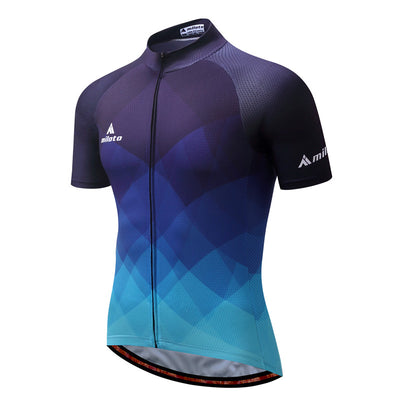 Blue Gradient Short Sleeve Cycling Jersey