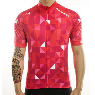 Full Zip Pixelated Triangle Cycling Jersey