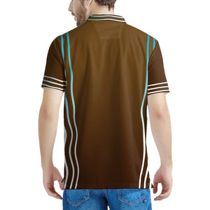 Brown Striped Men's All Over Print Polo Shirt