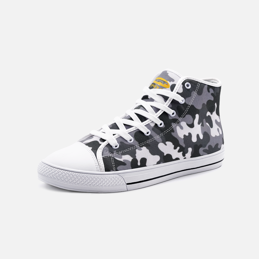 Fuckinuts Gray Camo Unisex High Top Canvas Shoes - Fuckinuts