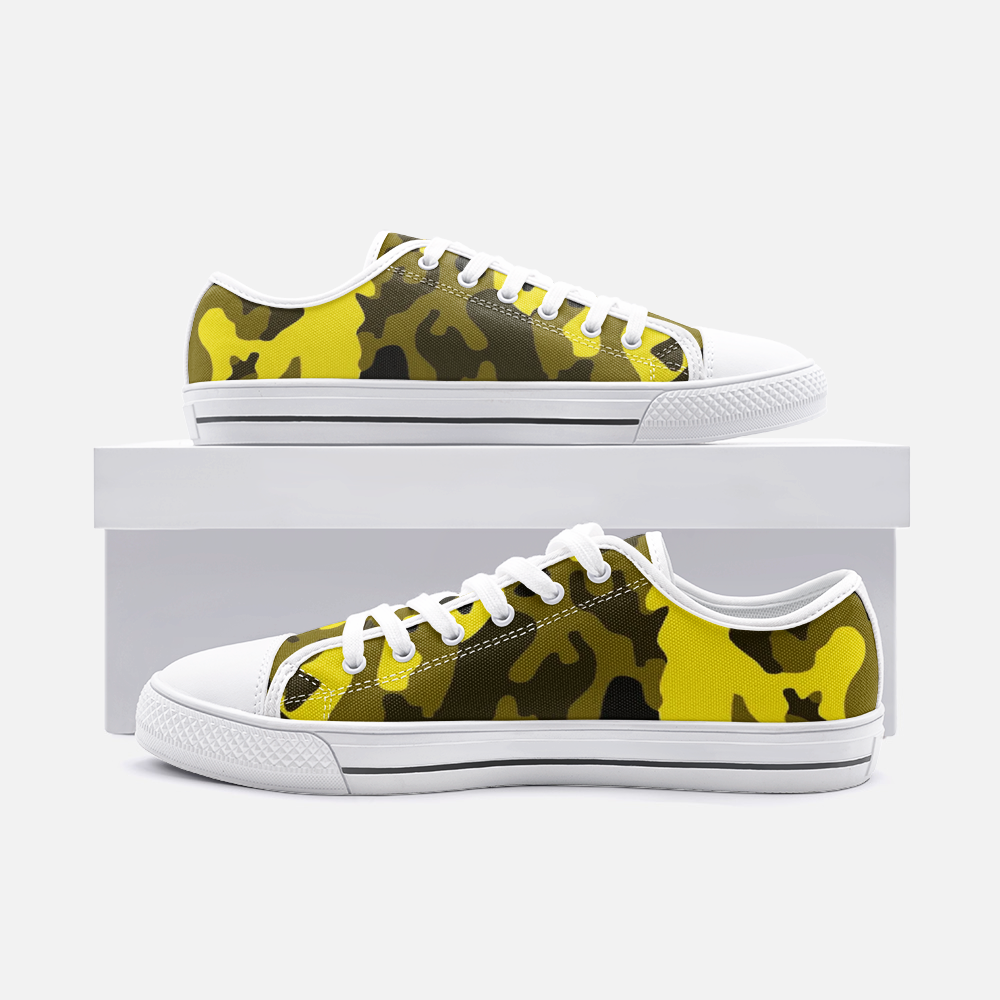 Fuckinuts Yellow Camo Unisex Low Top Canvas Shoes - Fuckinuts