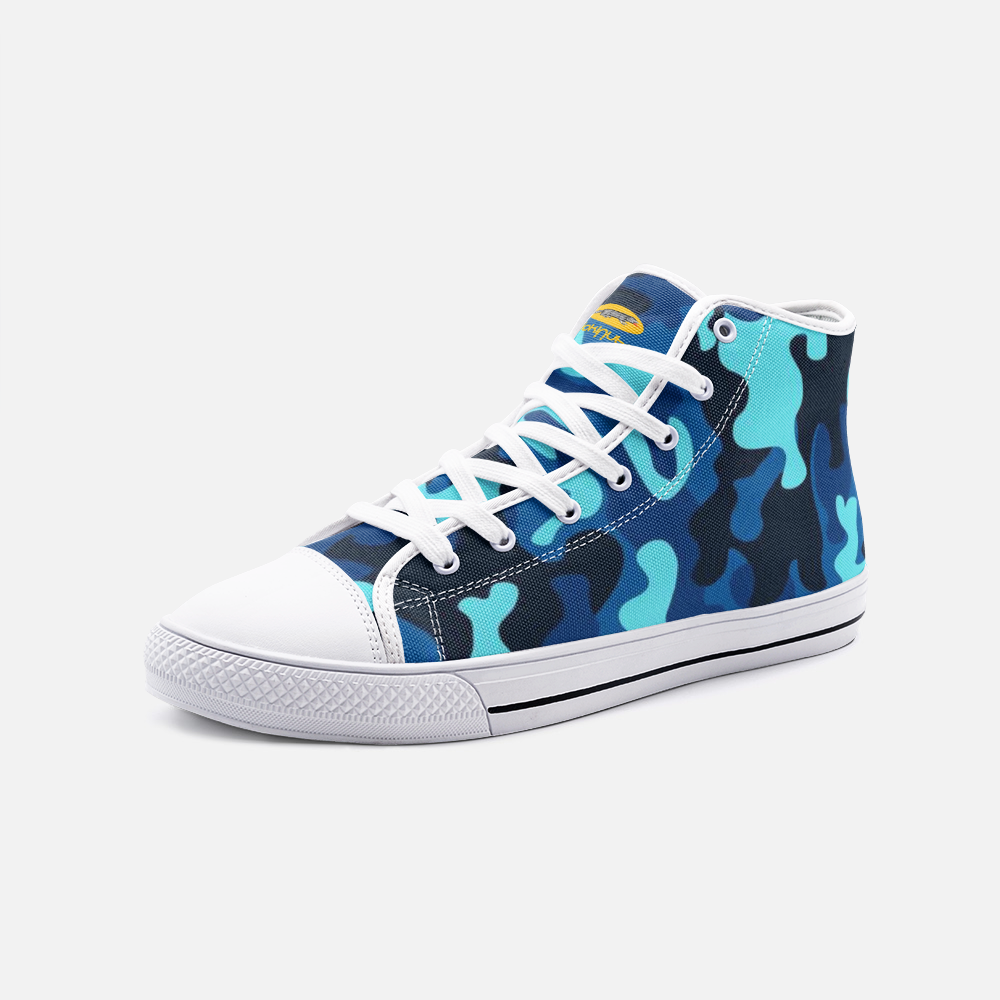 Fuckinuts Blue Camo Unisex High Top Canvas Shoes - Fuckinuts