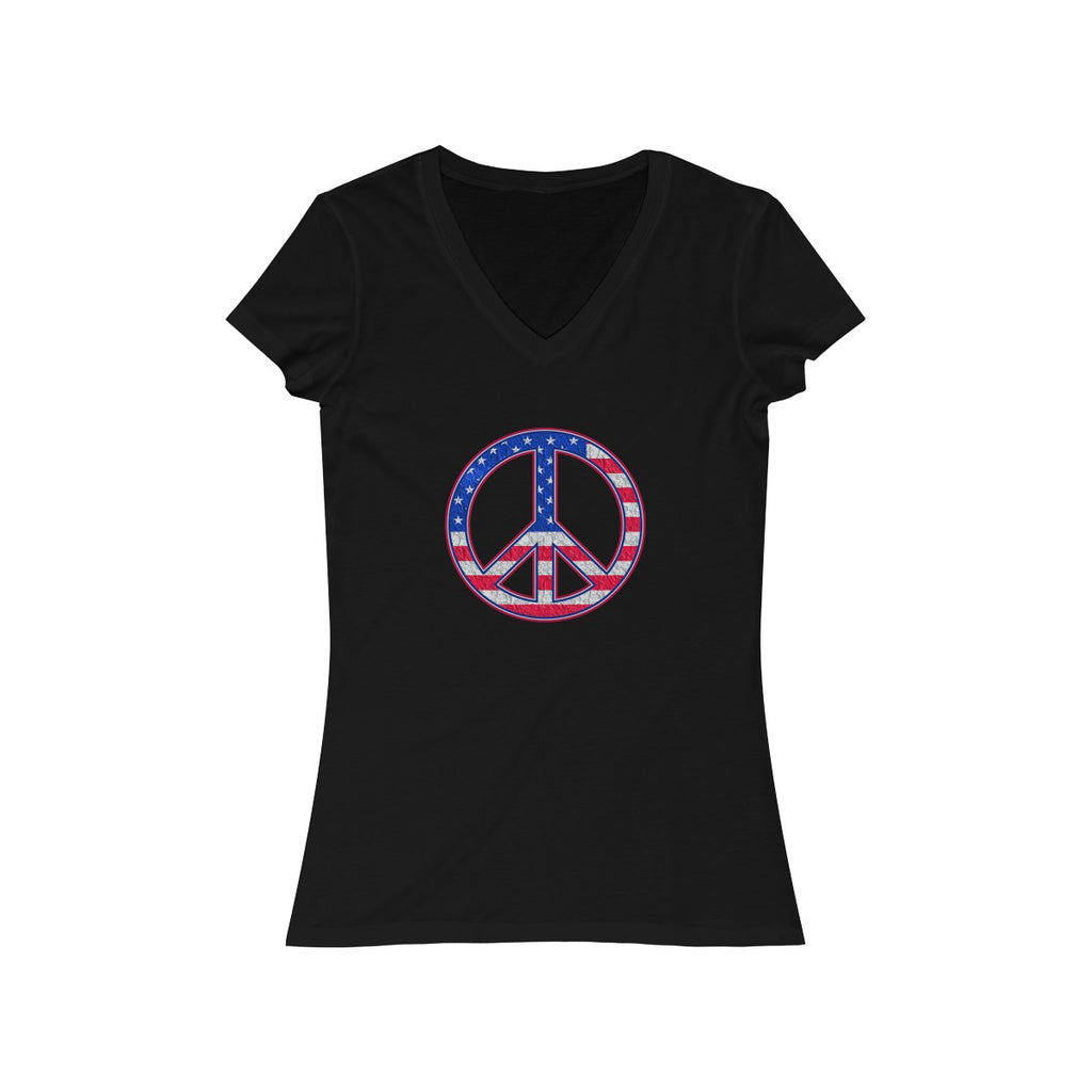 USA Peace Symbol Women's Short Sleeve V-Neck Tee - Fuckinuts