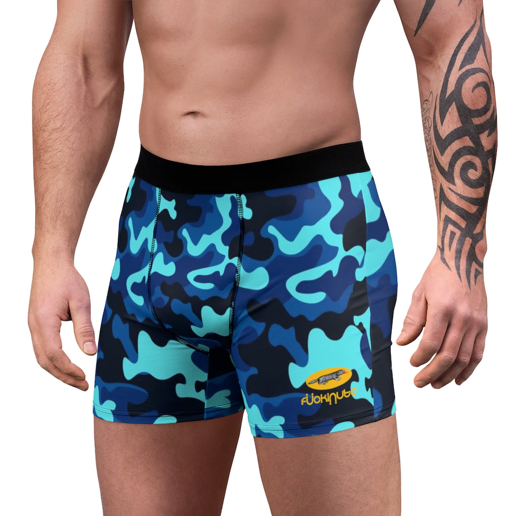 Camo Blue Men's Boxer Briefs - Fuckinuts