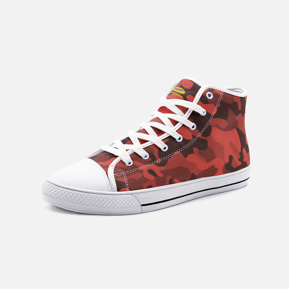 Fuckinuts Red Camo Unisex High Top Canvas Shoes - Fuckinuts