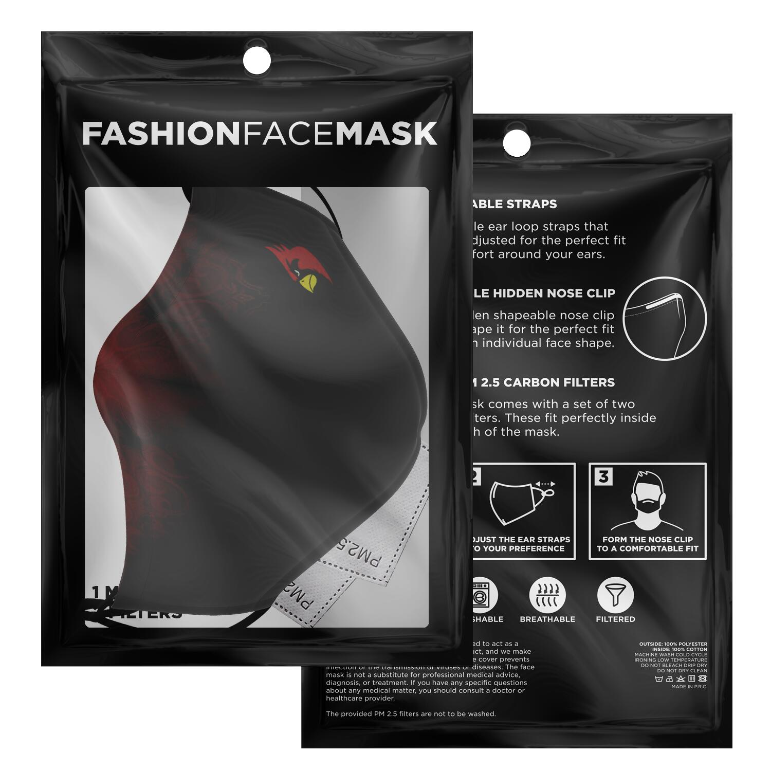 Cardinal Black Red Face Mask - Fuckinuts