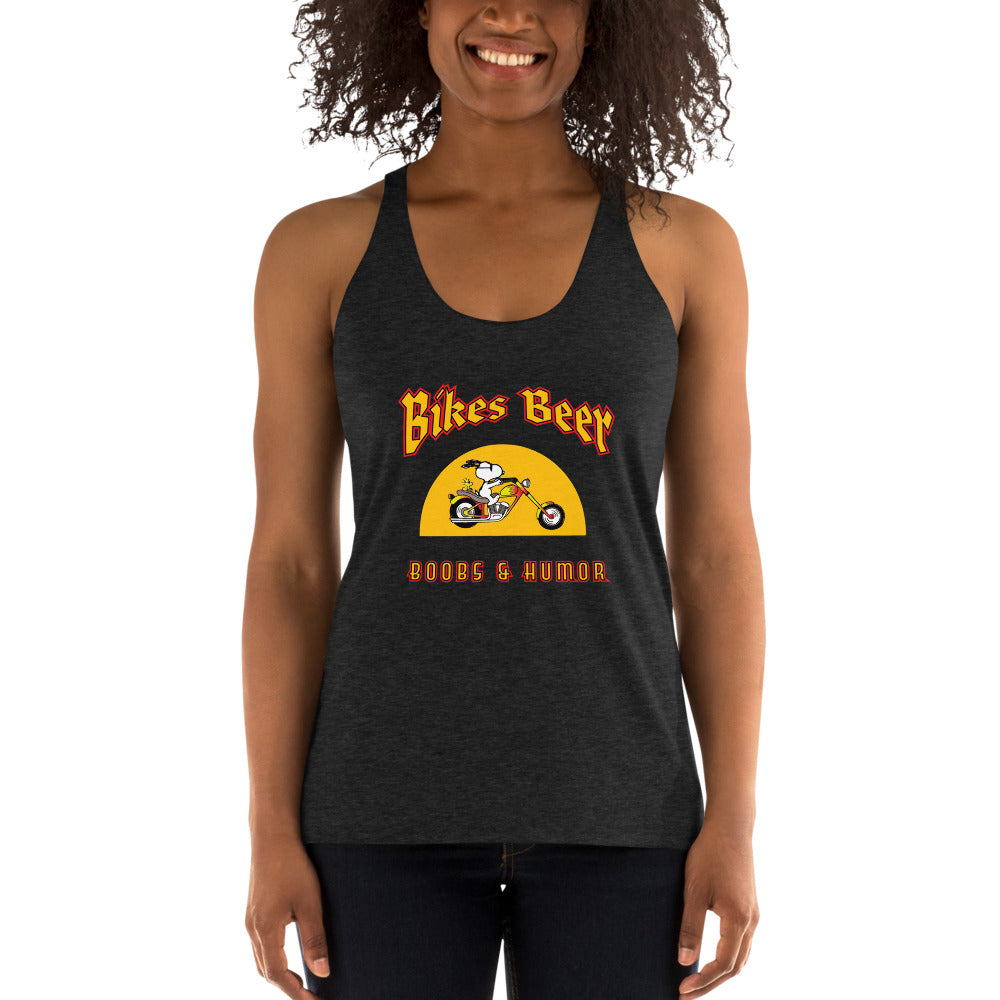 Bikes Beer Boobs & Humor Women's Racer-back Tank - Fuckinuts