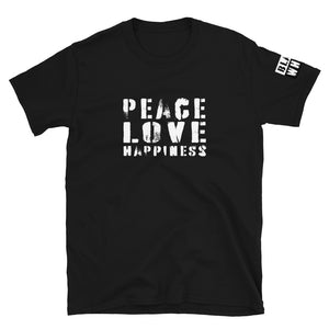 Peace Love Happiness Short-Sleeve Unisex T-Shirt - Fuckinuts