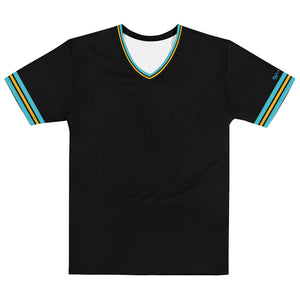 DZart Design MAF Lt. Blue Gold Stripe Men's V-Neck - Fuckinuts