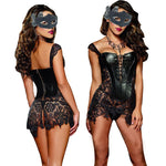 Women's Faux Leather & Lace Burlesque Steampunk Corset - Fuckinuts