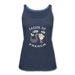 Excuse My French Women's Premium Tank Top - navy