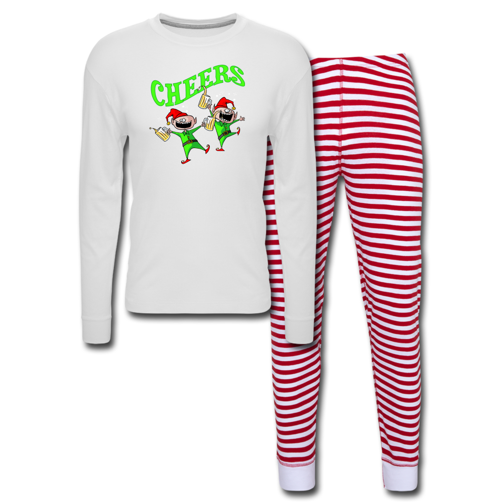 Cheers Elves Unisex Pajama Set - white/red stripe