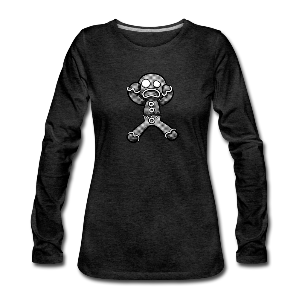 Gingerbread Nightmare Women's Premium Long Sleeve T-Shirt - charcoal gray