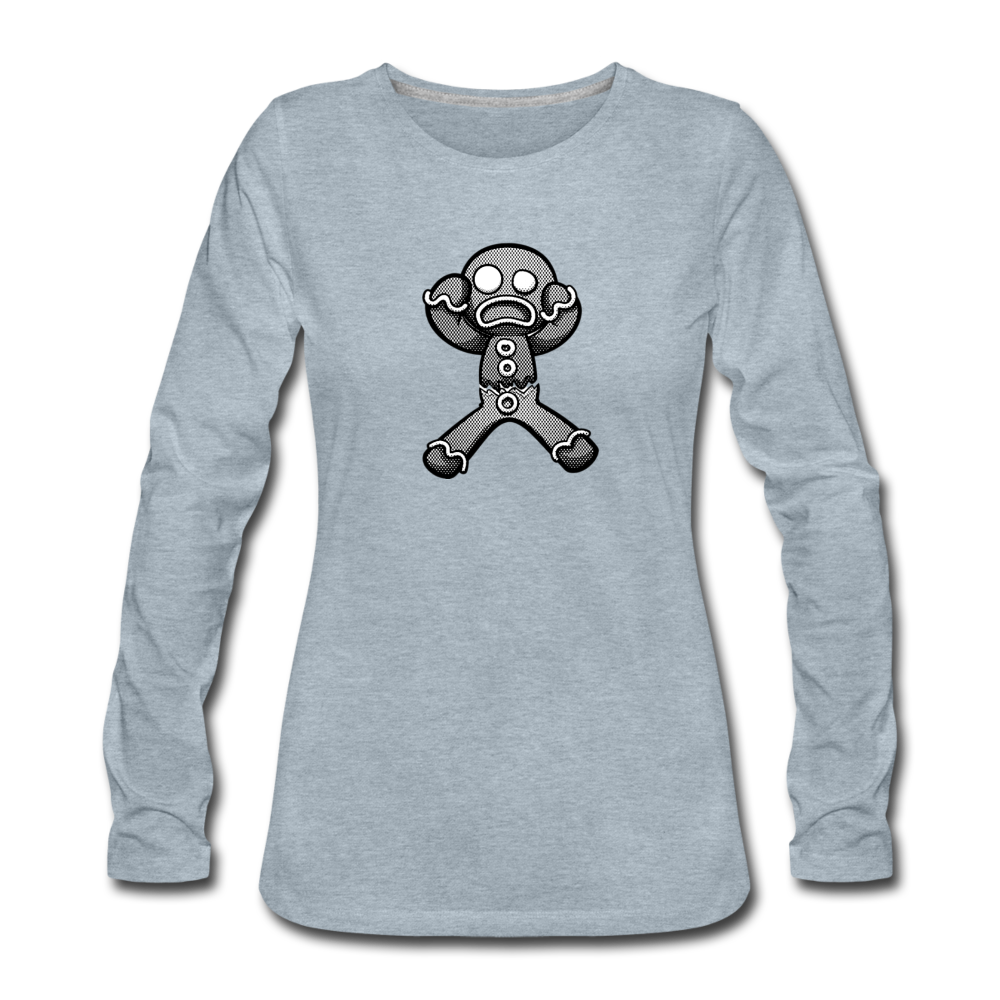 Gingerbread Nightmare Women's Premium Long Sleeve T-Shirt - heather ice blue