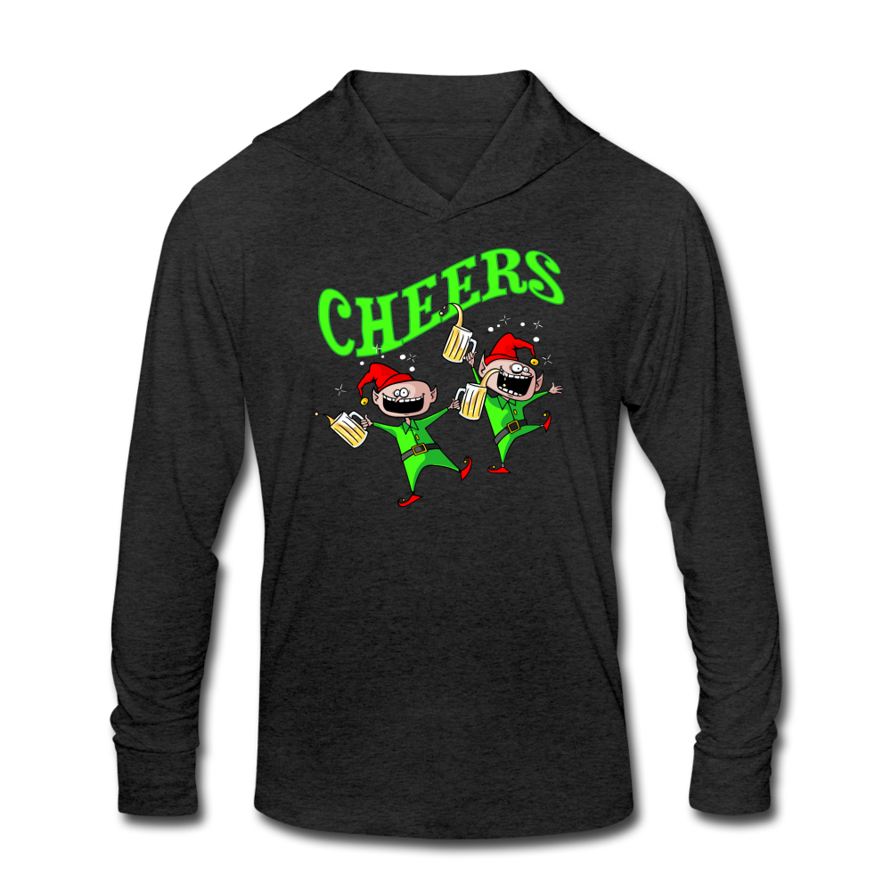 Cheers Elves Unisex Tri-Blend Hoodie Shirt - heather black