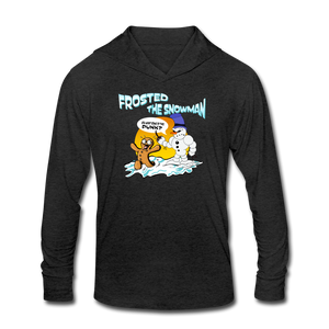 Frosted the Snowman Unisex Tri-Blend Hoodie Shirt - heather black