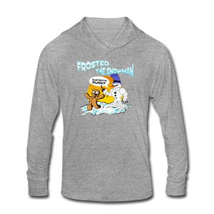 Frosted the Snowman Unisex Tri-Blend Hoodie Shirt - heather gray