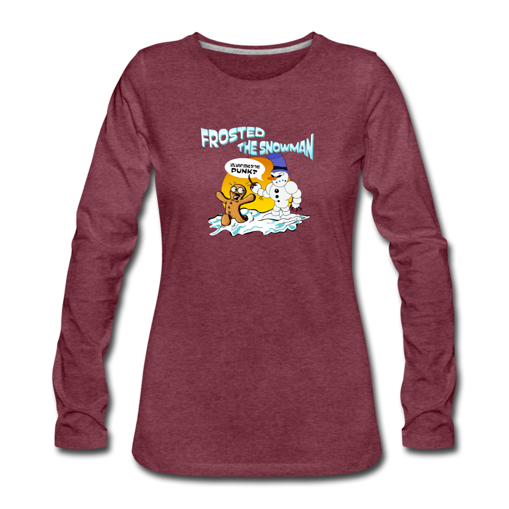 Frosted the Snowman Women's Premium Long Sleeve T-Shirt - heather burgundy