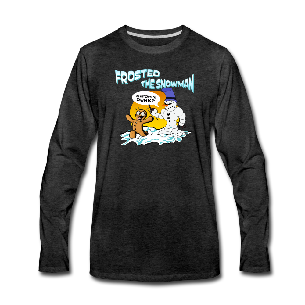 Frosted the Snowman Premium Long Sleeve T-Shirt - charcoal gray