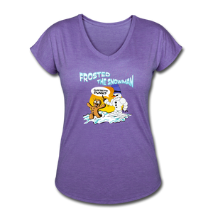 Frosted the Snowman Women's Tri-Blend V-Neck T-Shirt - purple heather