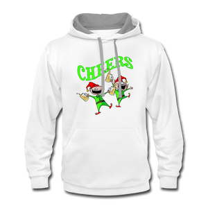 Cheers Elves Contrast Hoodie - white/gray