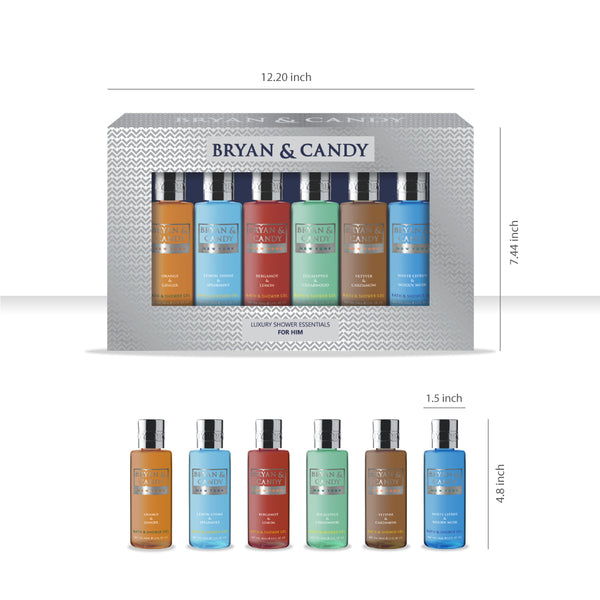 Gift Box For Him - Pack of Six Masculine Fragrance Shower Gels