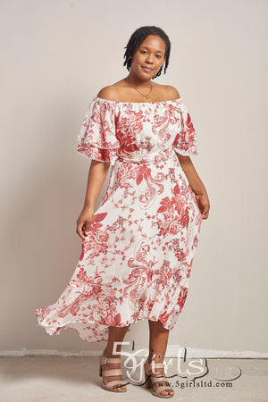 Maison Tara Floral Off Shoulder Dress