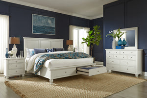 Cambridge Queen Panel Storage Bed Eggshell
