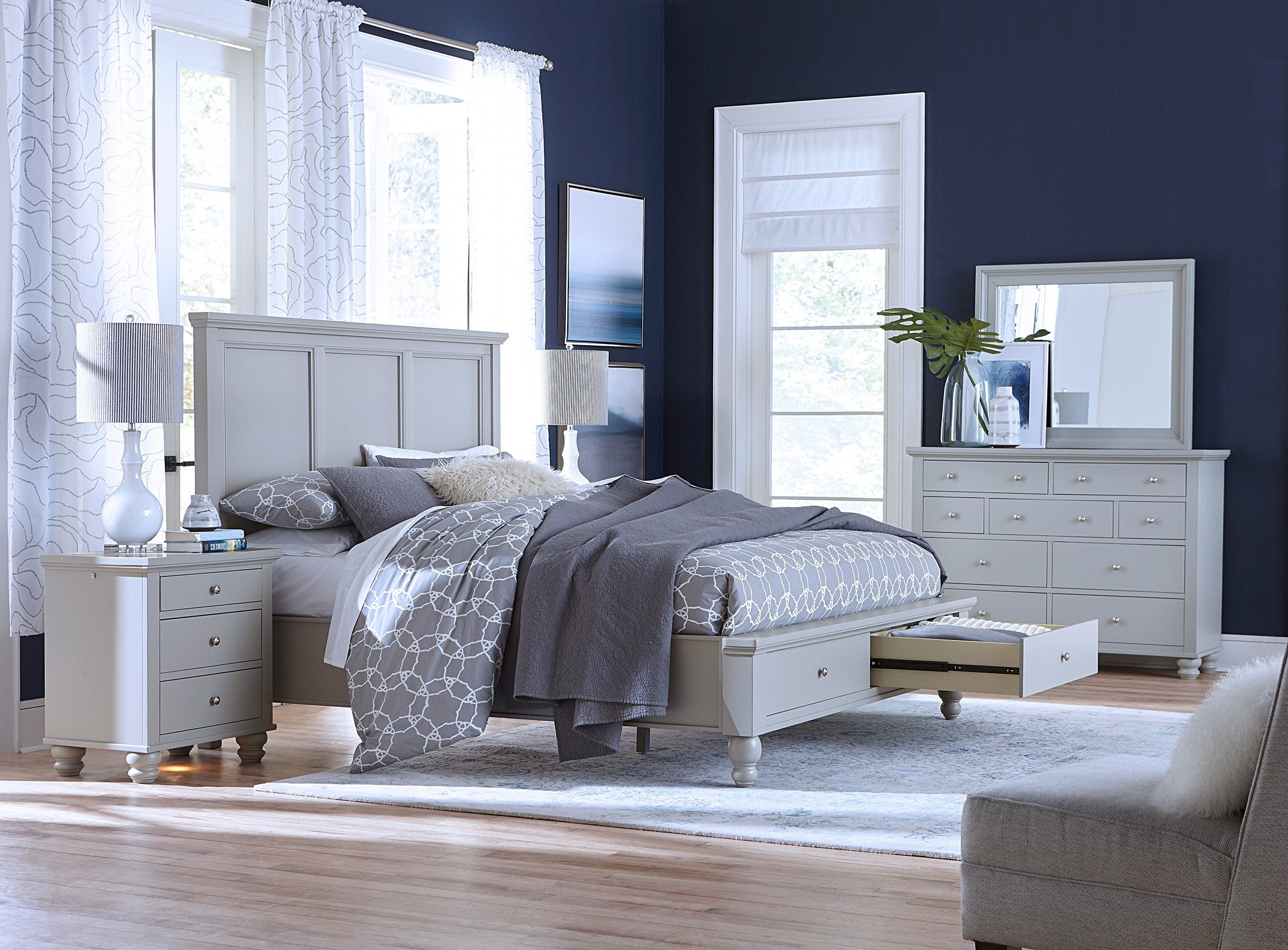 Cambridge Queen Panel Storage Bed Grey