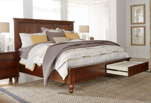 Cambridge Queen Panel Storage Bed Brown Cherry