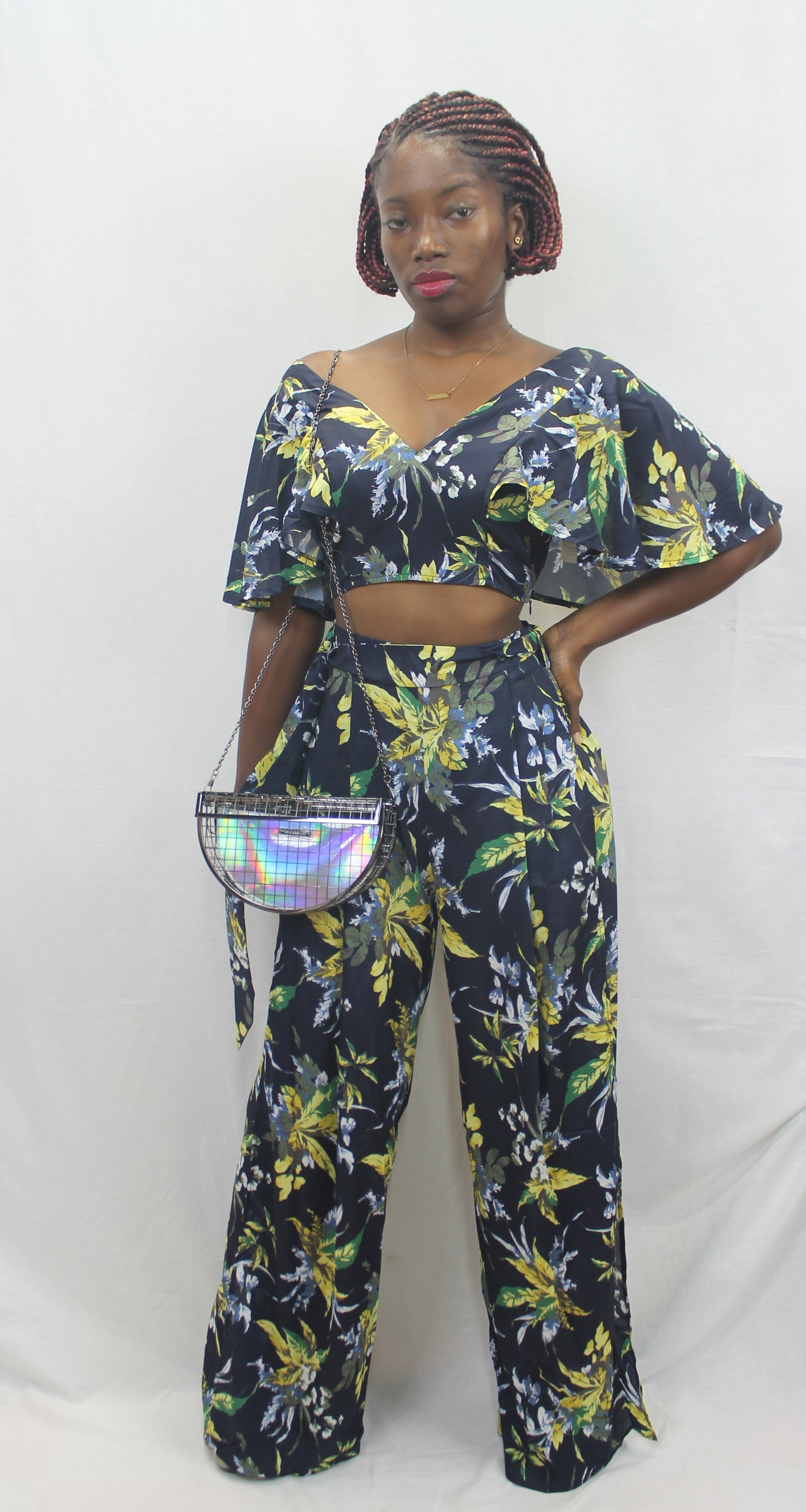 Casual Floral Wide Leg Palazzo 2pc Set
