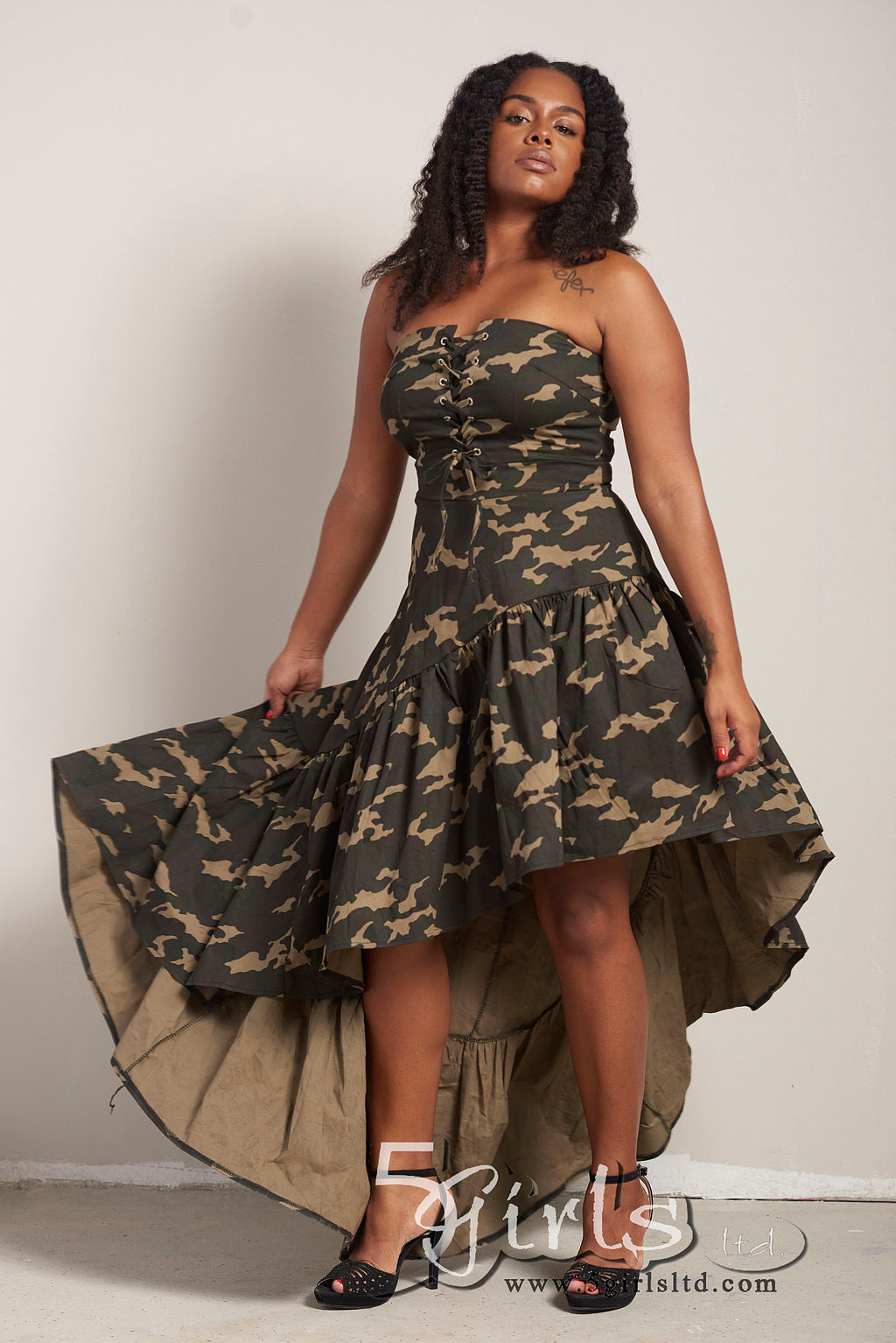Camouflage Corset High-Low Dress