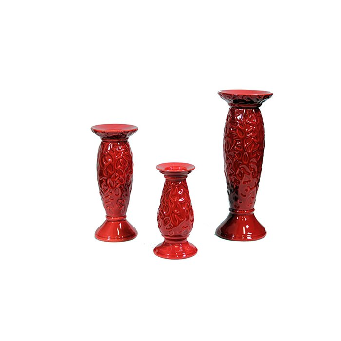 Pillar 3 Piece Ceramic Candlestick Set