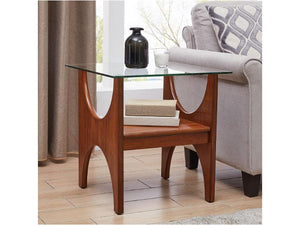 Syden Glass Top End Table