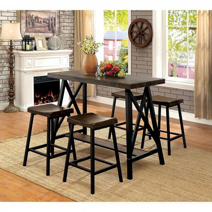 5Pc Counter Ht Table & Stools - Lainey Medium Weathered Oak Black Set