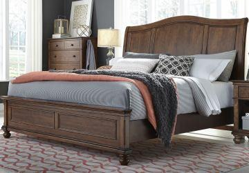 Oxford King Sleigh Headboard/king Low Profile Foot Board Whisky Brown Bed Room Set