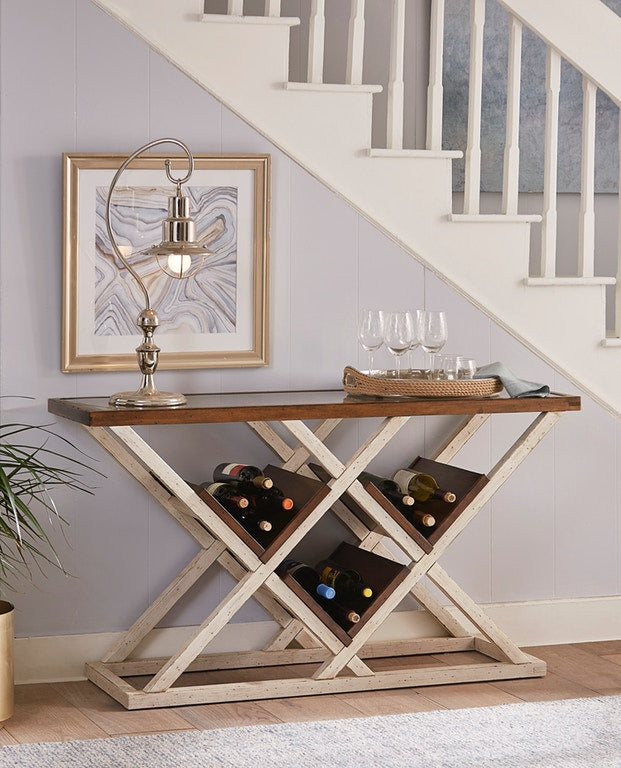 Modern Framhouse Console Table w/ Bottle Storage