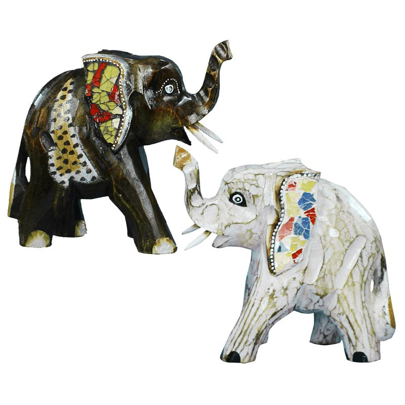 Nantana Sompamitre Artisan Crafted Wood Elephant Sculpture