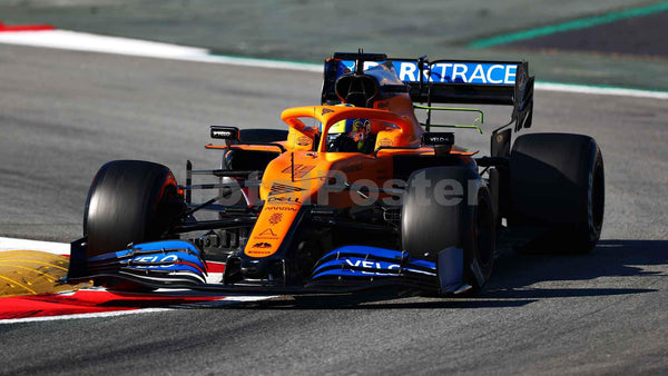 Lando Norris of Great Britain driving the (4) McLaren F1 Team MCL35 Renault during day two of F1 Winter Testing at Circuit de Barcelona-Catalunya on February 20, 2020 F1 | TotalPoster