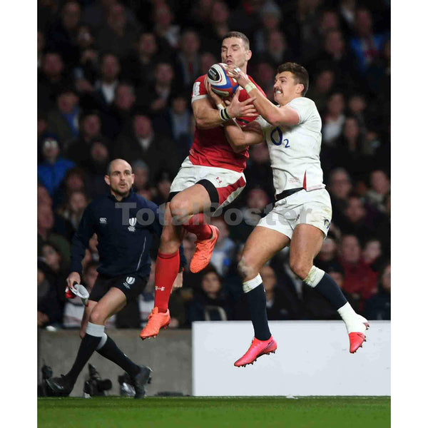 George North of Wales and Henry Slade of England compete for the ball during the 2020 Guinness Six Nations match between England and Wales at Twickenham Stadium on March 07, 2020 in London, England | TotalPoster