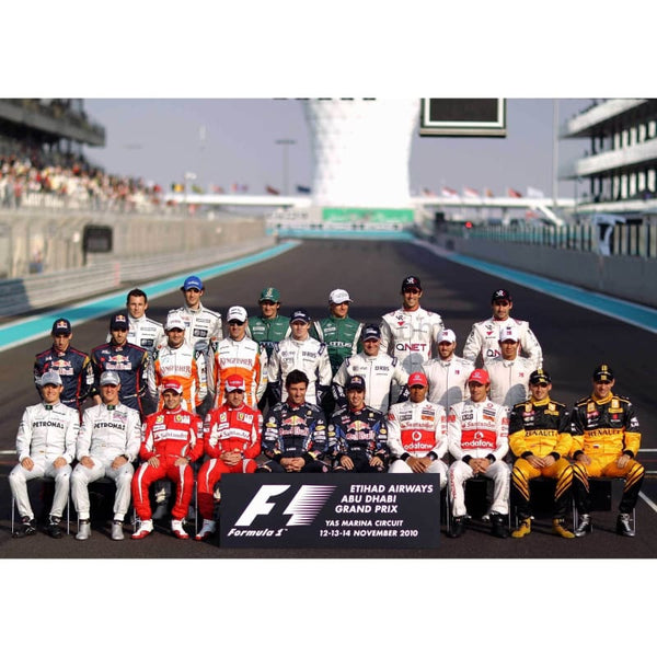 Drivers from the 2010 F1 season pose for an end of year photograph before the Abu Dhabi Formula One Grand Prix at the Yas Marina Circuit | TotalPoster