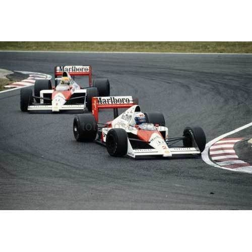 Alain Prost /Marlboro McLaren-Honda MP4/5 ahead of his team mate Ayrton Senna just before the two drivers would controversially collide during the Japanese Grand Prix at the Suzuka Circuit in Suzuka | TotalPoster