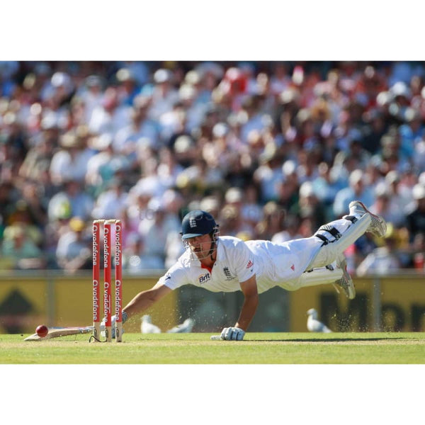 Alastair Cook just avoids being run out by Mitchell Johnson during day three of the Third Ashes Test match between Australia and England at the WACA | TotalPoster