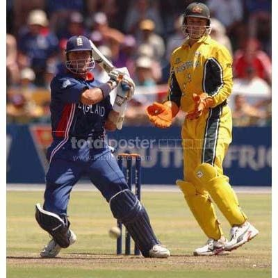 Alec Stewart of England hits the ball for more runs during the ICC Cricket World Cup Pool A match between Australia and England at St George`s Park | TotalPoster