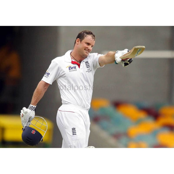 Andrew Strauss celebrates after scoring a century during day four of the First Ashes Test match between Australia and England at The Gabba | TotalPoster