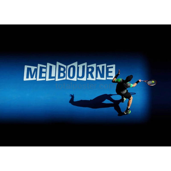 Andy Murray plays a backhand to Joao Sousa at the Australian Open 2015 TotalPoster