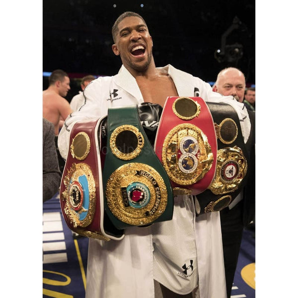 Anthony Joshua celebrates his WBA, IBF, WBO & IBO victory over Joseph Parker TotalPoster