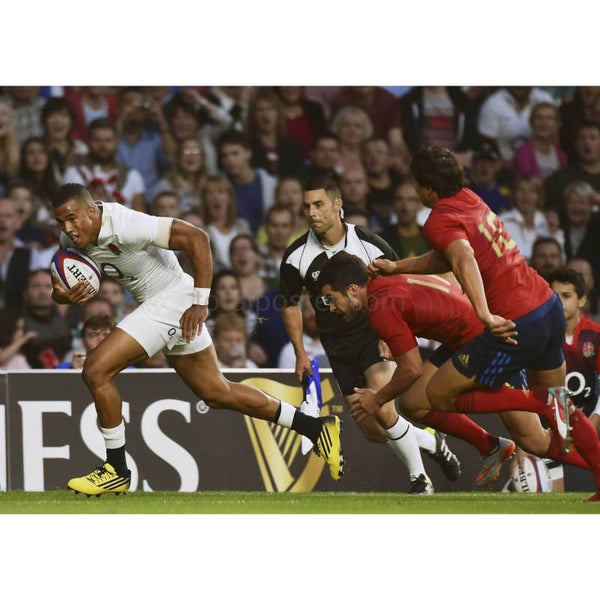 Anthony Watson runs in to score his opening try during the QBE International match between England and France at Twickenham | TotalPoster