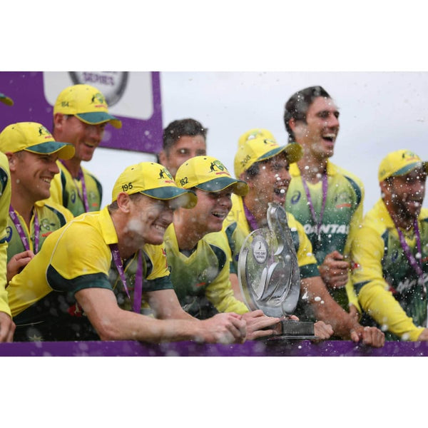 Steve Smith and the Australia team celebrate with the Trophy after victory in the 5th Royal London One-Day International match between England and Australia at Old Trafford | TotalPoster